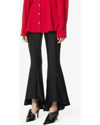 Maggie Marilyn My Own Perspective Flared High-rise Recycled-polyester-blend Trousers - Black