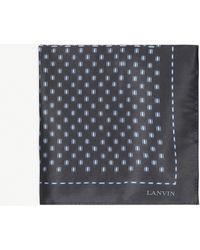 Lanvin Silk Tie And Pocket Square Set - Gray