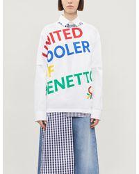 Benetton Unisex Logo-print Oversized Cotton-jersey T-shirt - White