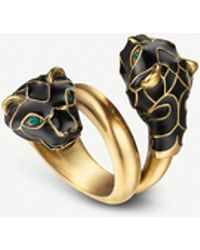 Gucci - Tiger Head Swarovski Crystal Metal Wrap Ring - Lyst