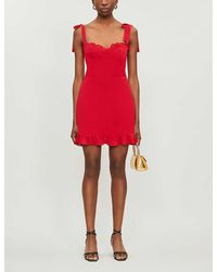 Reformation Christine Sleeveless Crepe Mini Dress - Red
