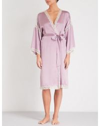 Nk Imode - Attractive Silk-satin And Lace Robe - Lyst