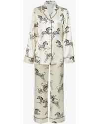 Olivia Von Halle Zebedee Silk-satin Pyjama Set - Multicolour
