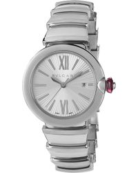 BVLGARI - Lvcea Stainless Steel And Pink Cabochon-cut Stone Watch - Lyst