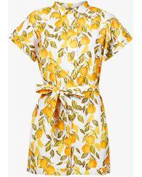 Never Fully Dressed Printed Kimono-sleeved Cotton Playsuit - Orange