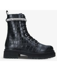 Kurt Geiger Siva Jewel Croc-embossed Leather Boots - Black