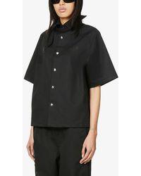 Hood By Air Text-print Raglan-sleeved Woven Shirt - Black