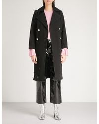 Mo&co. - Double-breasted Denim Trench Coat - Lyst
