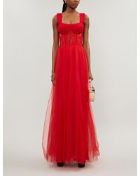 Rasario Sweetheart-neckline Tulle And Lace Gown - Red