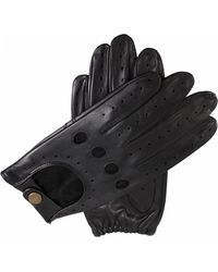 Dents Mens Black Leather Driving Gloves