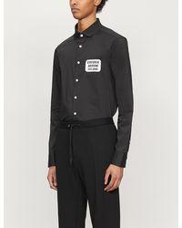 Emporio Armani Brand-appliqué Slim-fit Cotton Shirt - Black