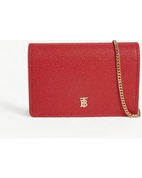 Burberry Jessie Grained Leather Wallet-on-chain - Red