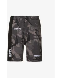 Aape Camouflage And Logo-print Relaxed-fit Cotton-blend Shorts - Black