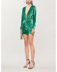 The Attico Diamanté-embellished Velvet Dress - Green