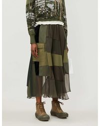 Sacai Contrast-panel Wrap-over Midi Skirt - Green
