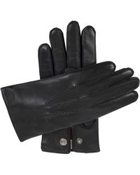 Dents Mens Black Burford Cashmere-lined Leather Gloves