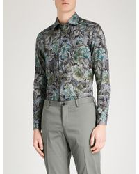 Etro - Floral-print Tailored-fit Cotton-poplin Shirt - Lyst