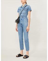 GOOD AMERICAN The Fit For Success Short-sleeved Denim Jumpsuit - Blue