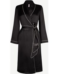 Agent Provocateur Contrast-piped Silk Robe - Black