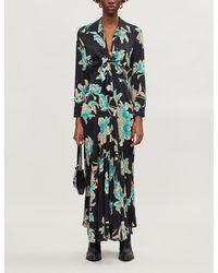 Sandro Blaire Floral-print Crepe Maxi Dress - Black