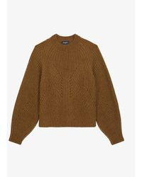 The Kooples Puffed-sleeve Mohair-blend Sweater - Brown