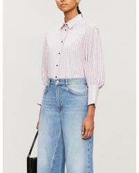 Sandro Checked Puff-sleeve Cotton Shirt - Pink