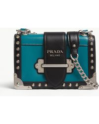 75bff3c40678 Prada - Peacoat Dark Blue Cahier Small Leather Shoulder Bag - Lyst