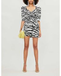 The Attico Zebra-print Chiffon Wrap Mini Dress - Black