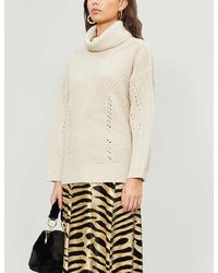 TOPSHOP Oat Knitted Roll Neck Sweater - Natural