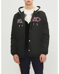 KENZO - Faux-shearling And Shell Hooded Jacket - Lyst