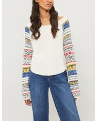 Free People - Vintage-intarsia Cotton-blend Jumper - Lyst