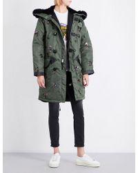 COACH Sequin-embellished Satin Parka Coat - Green