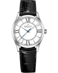 Zenith - 03.2310.679/38.c714 Elite Stainless Steel And Leather Watch - Lyst