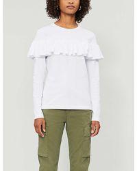 NINETY PERCENT Frilled Organic Cotton-jersey Top - White