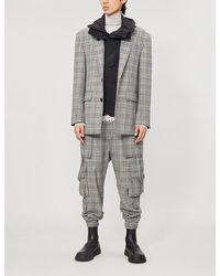 Juun.J Contrast-underlay Checked Wool And Woven Blazer - Black