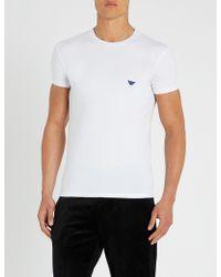 Emporio Armani - Logo-detail Stretch-cotton T-shirt - Lyst