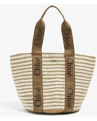Chloé Logo-strap Raffia Tote Bag - Brown