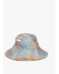 Ganni Gingham Seersucker Hat - Blue