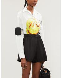 Prada - Plaque-embroidered High-rise Gabardine-nylon Shorts - Lyst