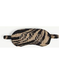 Ganni Brand-embroidered Zebra-print Recycled-polyester Eye Mask - Multicolour