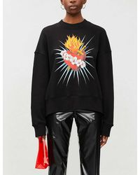 Palm Angels Sacred Heart Graphic-print Cotton-jersey Sweatshirt - Black