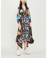 b89424fb54a Sandro - Lauriane Contrast-print Flared-hem Silk Dress - Lyst