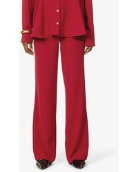 Maggie Marilyn New Horizon Wide-leg High-rise Recycled Polyester Trousers - Red