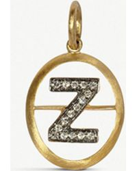 Annoushka - 18ct Yellow-gold And Diamond Z Pendant - Lyst