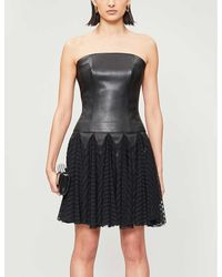Jitrois Strapless Leather Bustier Top - Black