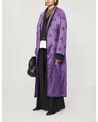 Haider Ackermann Peignoir Geometric-print Linen And Silk-blend Coat - Purple