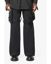 Raf Simons Archive Redux Buckled Strap-embroidered Cotton Pants - Black