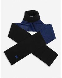 KENZO Ribbed Roll-neck Wool Scarf - Blue