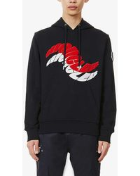 Moncler Brand-embroidered Relaxed-fit Cotton-jersey Hoody - Blue