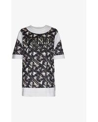 Fendi Logo-print Cotton-jersey T-shirt - Black